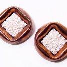 Signed 1950s Matisse Seafoam Copper Clip Earrings