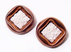 Signed 1950s Matisse Seafoam Copper Clip Earrings - Free USA Shipping