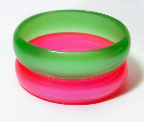 Matched Pair of Vintage Frosted Lucite Bangles