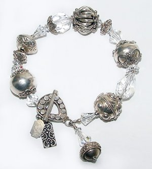 Signed Tres Jolie Bracelet - Bali Sterling and Swarovski Crystal Beads - Free USA Shipping