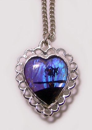 Vintage c1950 Double Sided Morpho Butterfly Wing Heart Pendant/ Necklace - Free USA Shipping