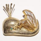 Vintage 1960s Wire-Worked Goldtone Spouting Whale Brooch - Free USA Shipping