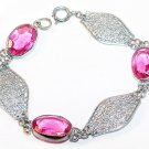 Art Deco Filigree and Pink Stones Link Bracelet
