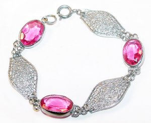 Art Deco Filigree and Pink Stones Link Bracelet - Free USA Shipping