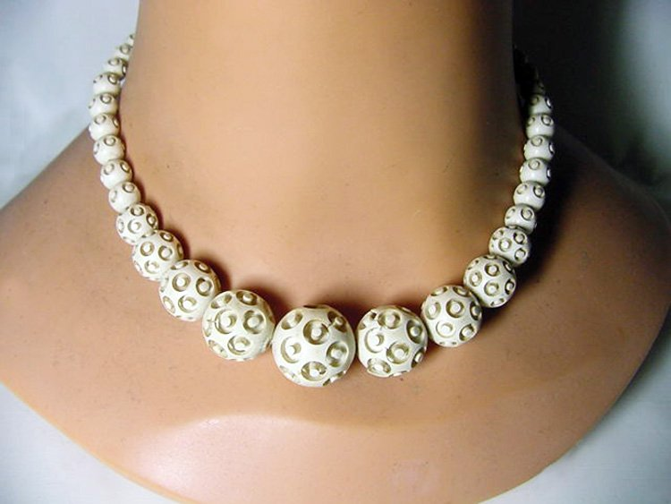 Carved Alabaster Celluloid Art Deco Choker Necklace