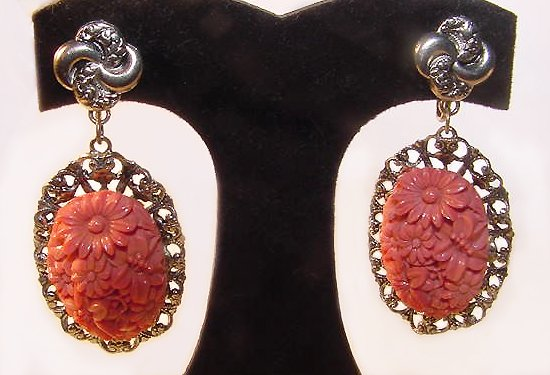 Very Large Victorian Revival Coral Celluloid Screwback Earrings - Free USA Shipping
