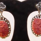 Very Large Victorian Revival Coral Celluloid Screwback Earrings