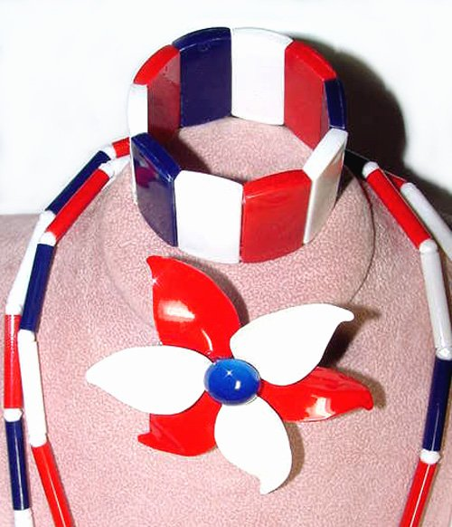 1960s Modernist Patriotic Red, White and Blue Plastic and Metal Parure