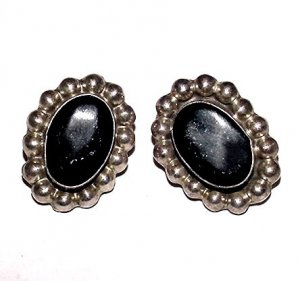 Vintage Mexican Sterling and Obsidian Clip Earrings - Free USA Shipping