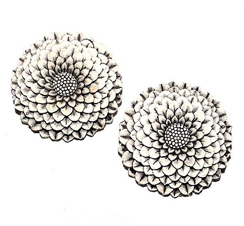 Pair of 1950s Featherlite Japanese Chrysanthemum Brooches - Free USA Shipping