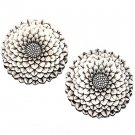 Pair of 1950s Featherlite Japanese Chrysanthemum Brooches - Free USA Shipping