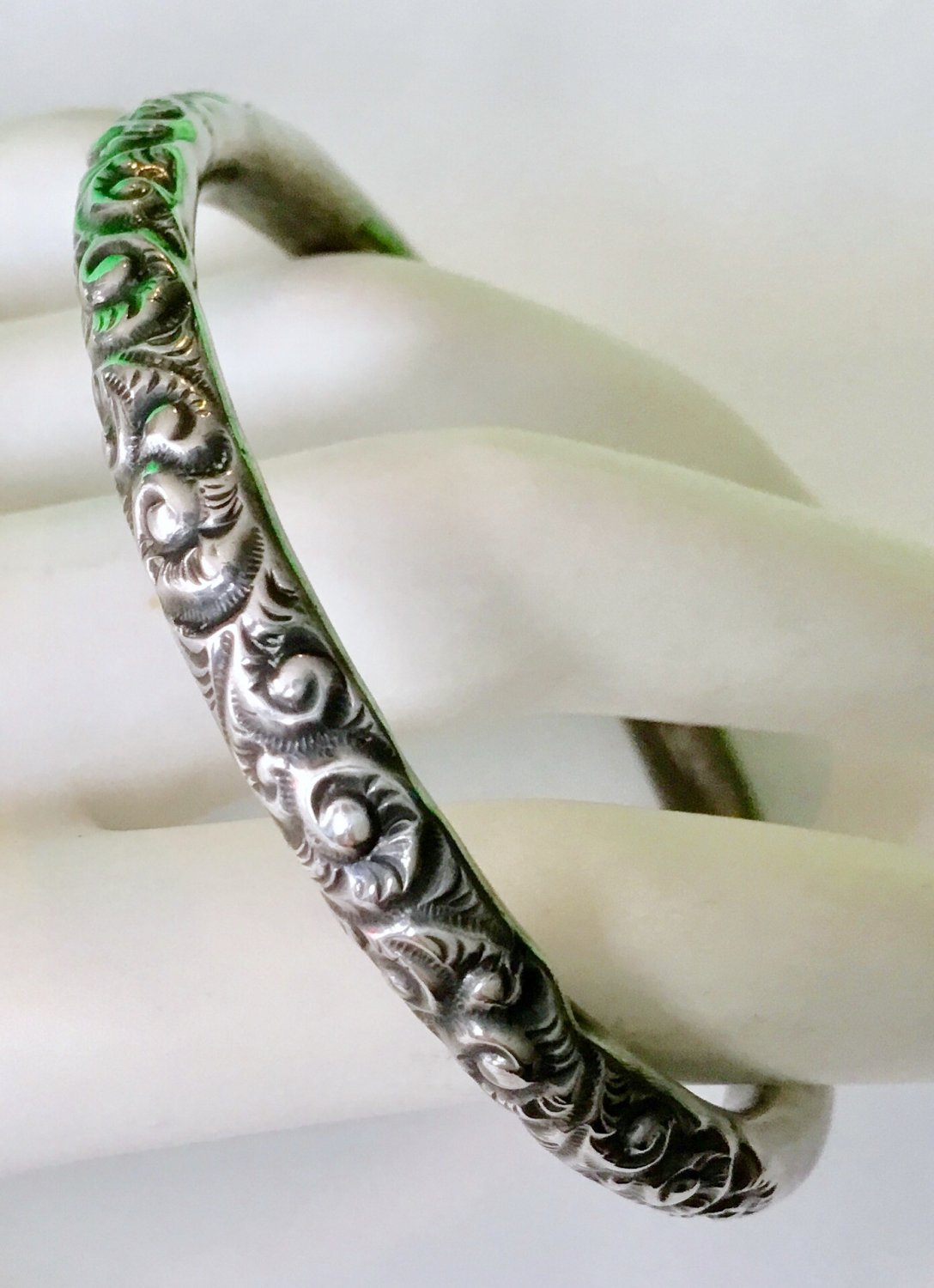Victorian Repousse Sterling Child's Bangle Bracelet
