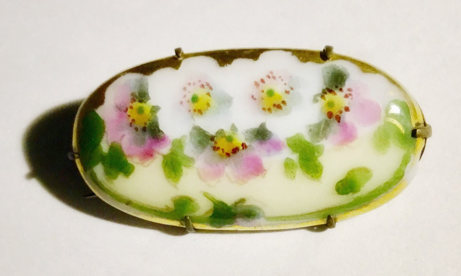 Apple Blossoms Handpainted Porcelain Antique Brooch - Free USA