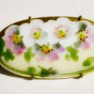 Apple Blossoms Handpainted Porcelain Antique Brooch