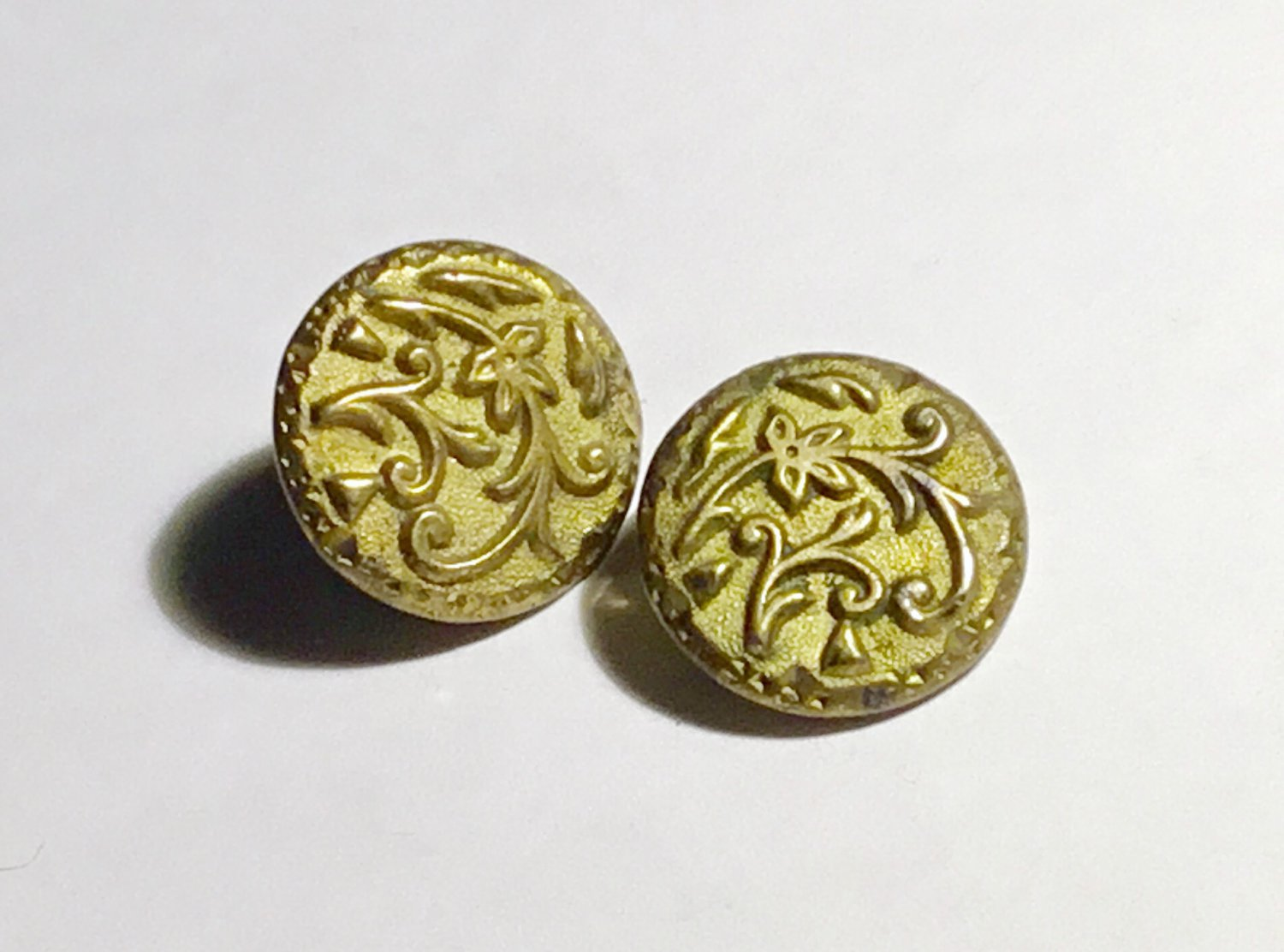 Pair of Antique Victorian Brass Leaf Tracery Buttons - Free USA Shipping
