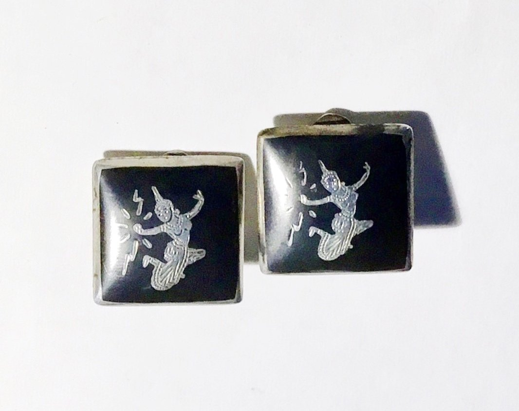 Vintage 1960s Siam Niello Sterling Silver Clip Earrings with Dancing Figures - Free USA Shipping