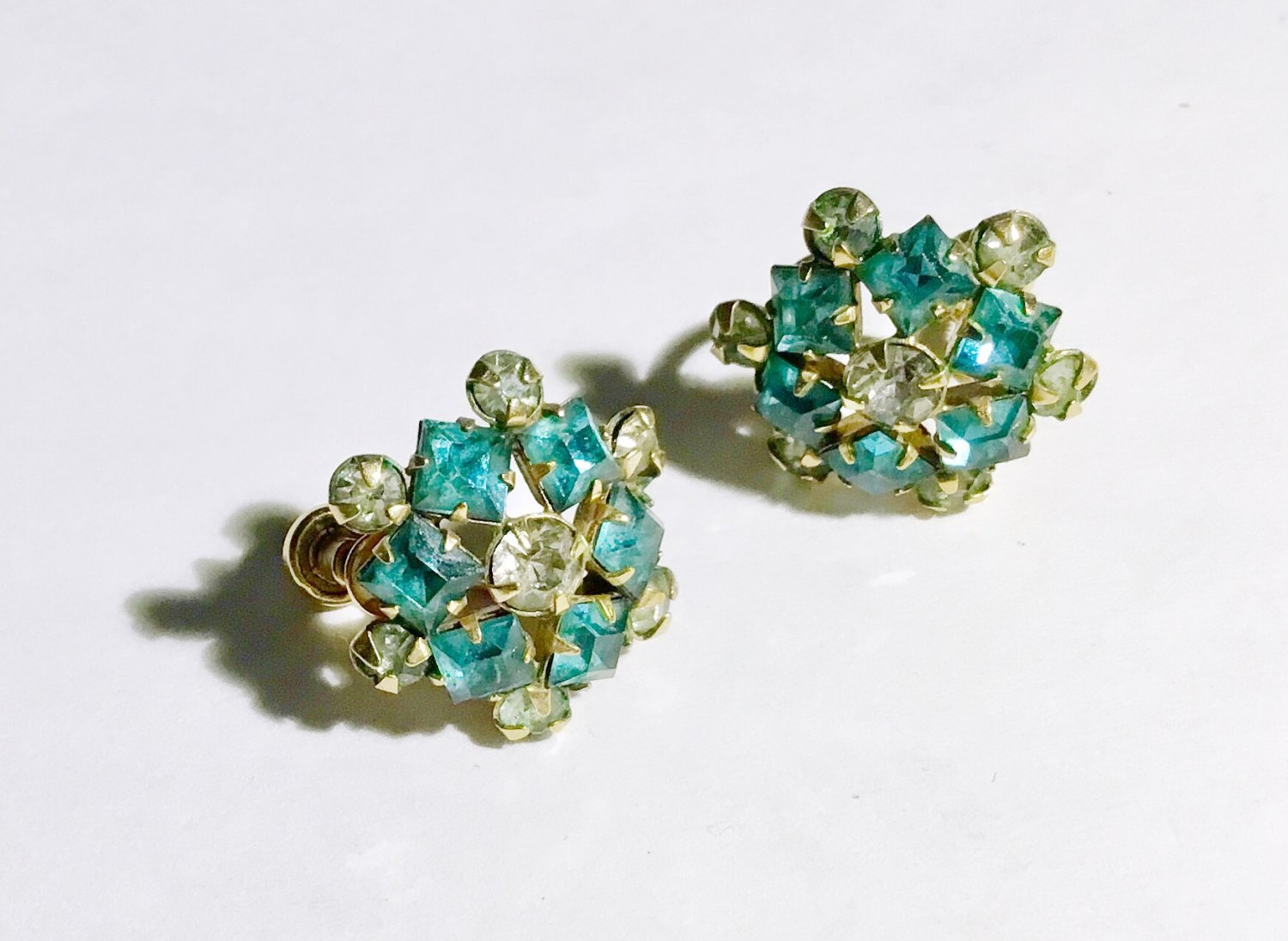 Signed Vintage Gold Filled Blue Rhinestone Earrings