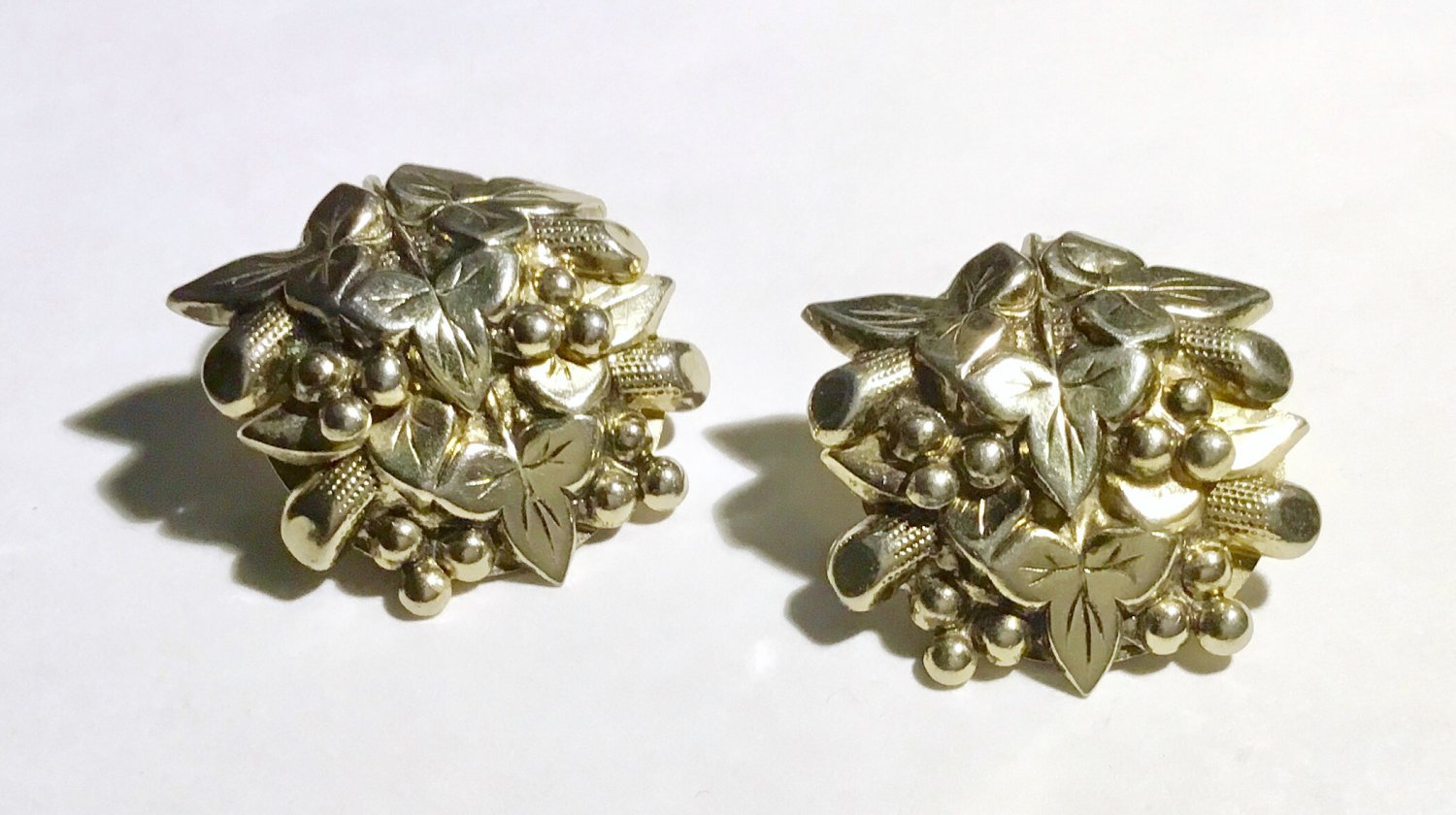 Vintage Eastlake Inspired Victorian Revival 1950s Clip Earrings - Free USA Shipping