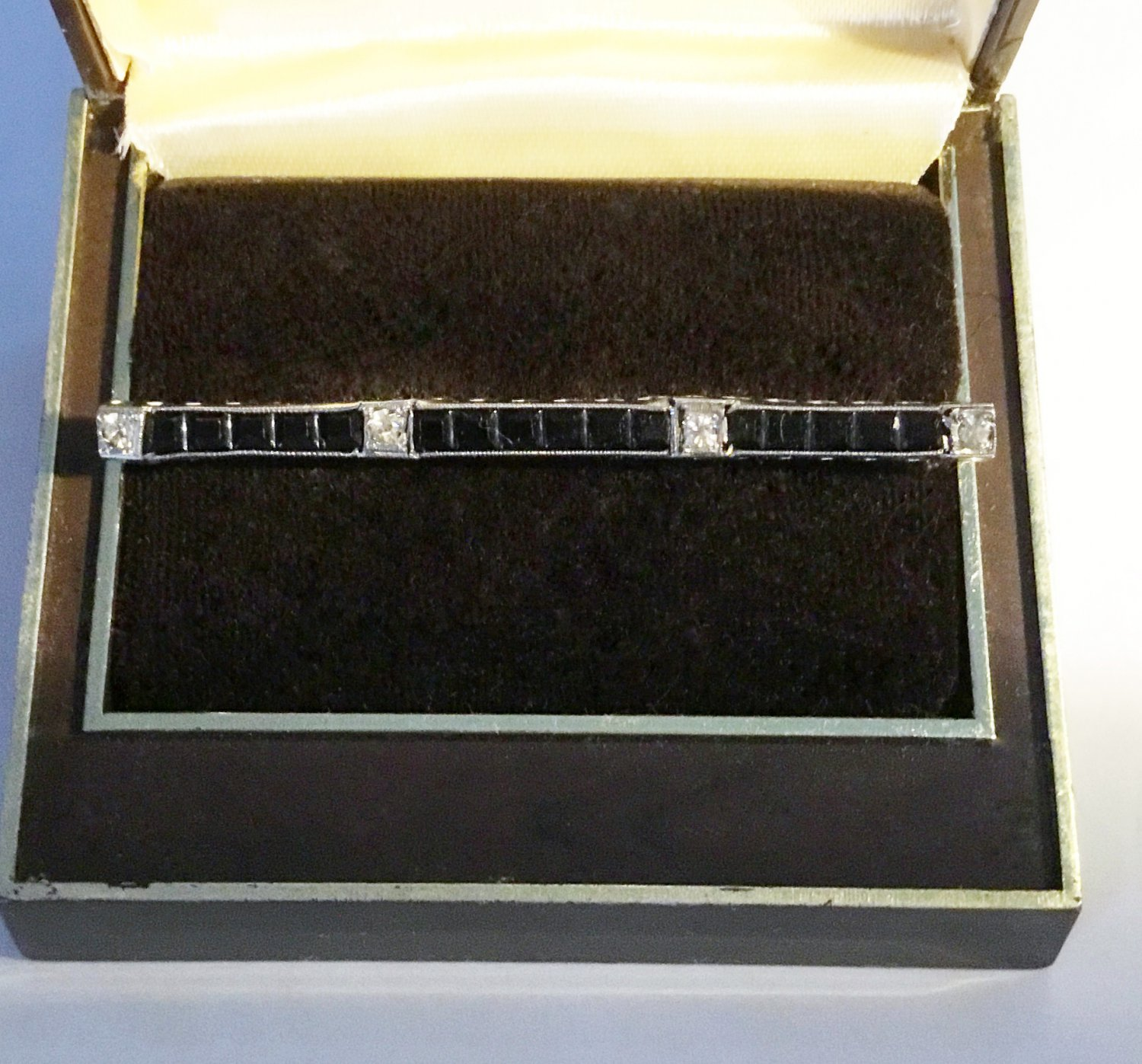 Art Deco Rhinestones Bar Pin - Free USA Shipping