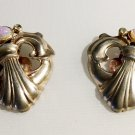 Sterling Pair 1930s Dress Clips With Opaline Stones