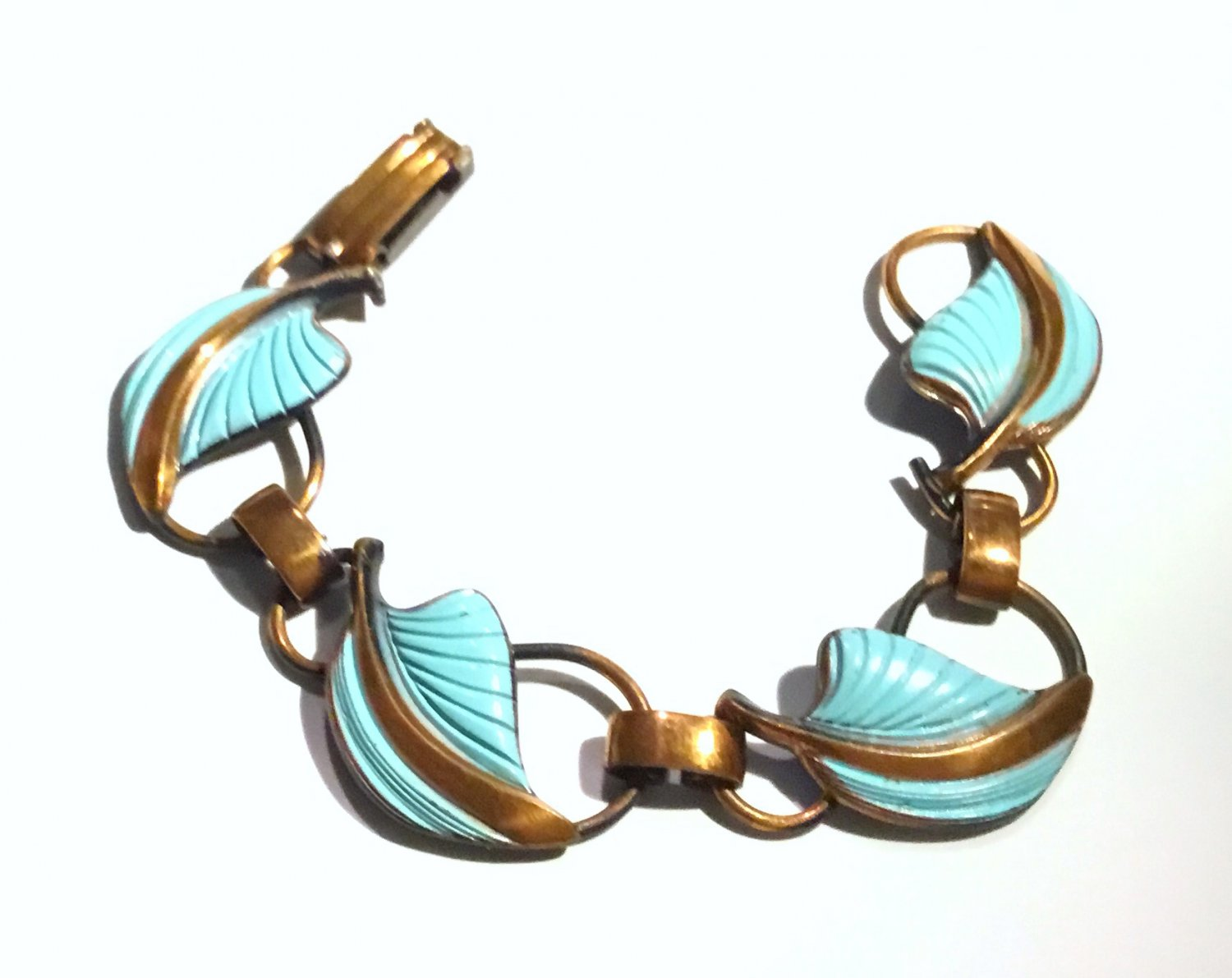 Vintage 1950s Beatnik/ Modernist Enamel and Copper Bracelet - Free USA Shipping