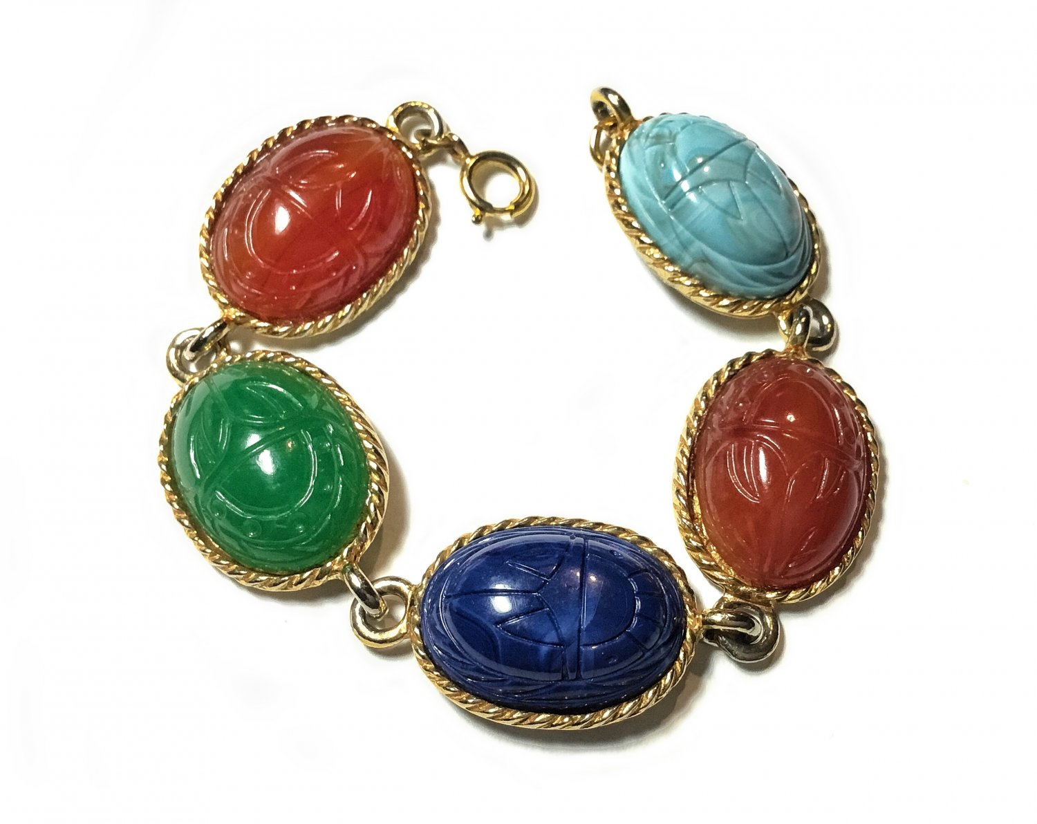 C1960 Multi Colored Glass Scarab Linked Gold Plated Bracelet