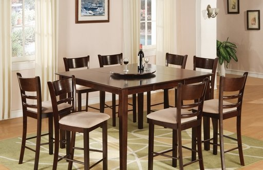 8 PIECE SOLID WOOD PUB TABLE SET