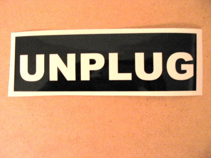 $1.99 UNPLUG vinyl die cut sticker decal colors laptop car window wall decor