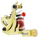 Golden Tattoo Machine Gun For Shader and Liner 10 Wrap Coil WS-M008