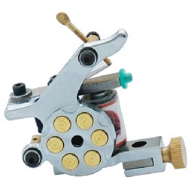3 pcs Silver Tattoo Machine Gun for Shader and Liner 10 Wrap Coils Beautiful Design