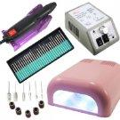 3 pcs Nail Drill Machine Manicure Kit and Nail Dryers UV Gel Lamp