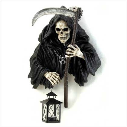 #12614 Grim Reaper Holding Candle Lantern