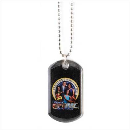 #12264 Obama Family Dog Tag Necklace