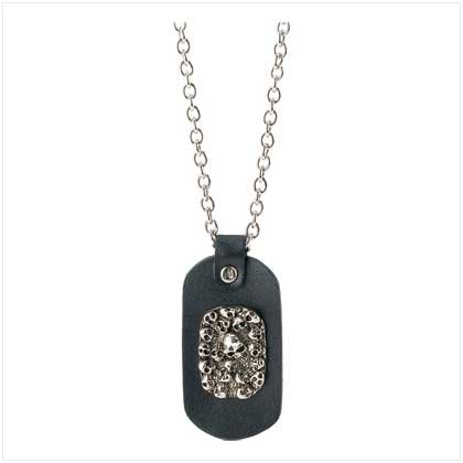 #39781 Leather Skulls Dog Tag Necklace