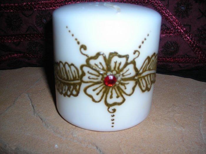 Pillar Candle with Henna Design