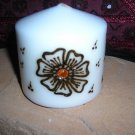 Pillar Candle with Handcrafted Henna Design