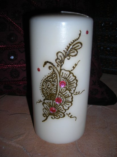 Pillar Candle with Unique Henna Design