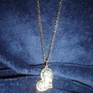 Rhinestone covered goldentoned puffed heart necklace