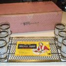 Vintage Hostess Caddy Serving Tray with 6 Glasses - Mint in original box