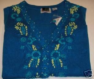Brand New Maggie Barnes Turquoise Crewel Vest - 1X