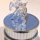 Glass Winged Horse and Foal Music Box Carousel