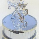 Vintage Glass Winged Horse and Foal Music Box Carousel