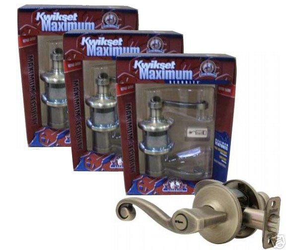 Best Price - 3 Brand New Kwikset 405LL Lido Keyed Entry Lockset - Antique Brass - Right Hand