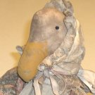 Primitive Duck Doll in Floral Dress, Tea-stained Pinafore with matching bonnet