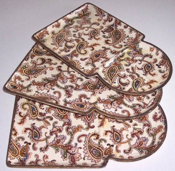 VINTAGE Papier Mache Sandwich / Tip Trays - Alfred E. Knobler Japan - Set of 3
