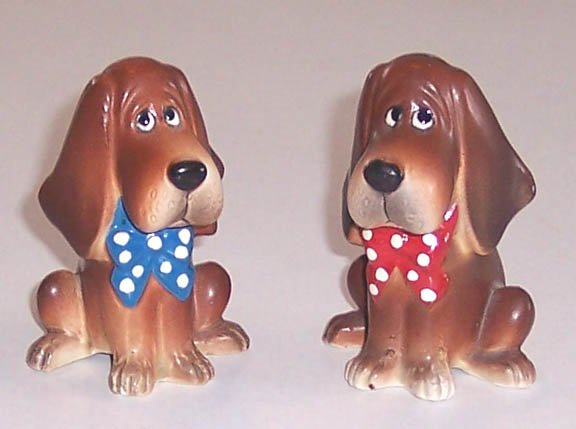 Vintage Beagles with Bowties Salt and Pepper Set Japan