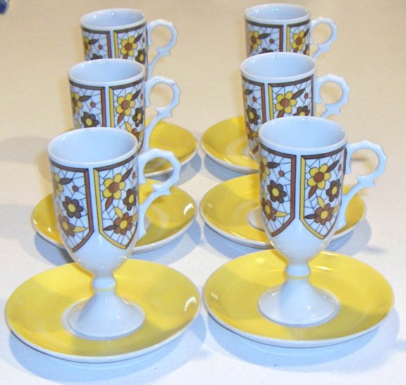 Vintage Demitasse Pedestal Cups with Saucers - Made in Japan Set of 6