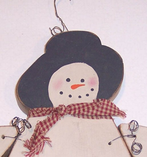 Primitive Wooden Snowman Wall Hanging