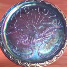 BLUE CARNIVAL GLASS EAGLE PLATE BICENTENNIAL 1976
