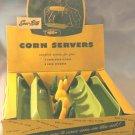 Vintage SERV-RITE Plastic CORN COB Holders and Corn Husk DISHES in Box